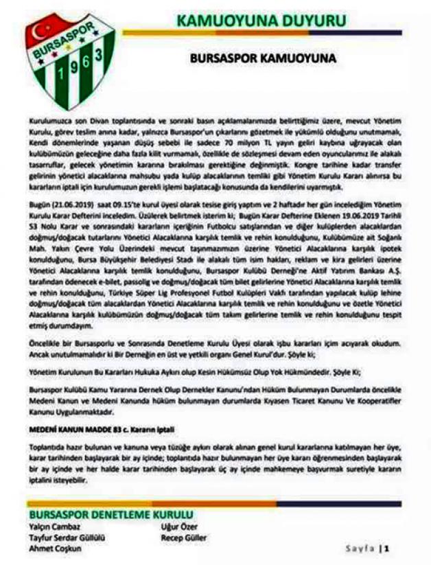 Bursaspor'da kriz büyüyor!